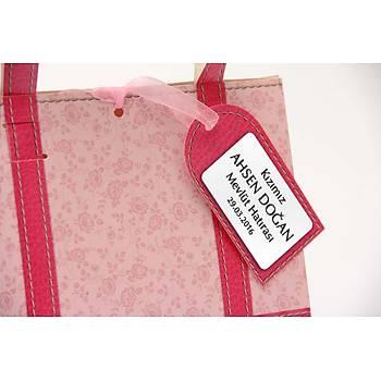 Pembe Vintage Tasarým Karton Çanta - Kiþiye Özel