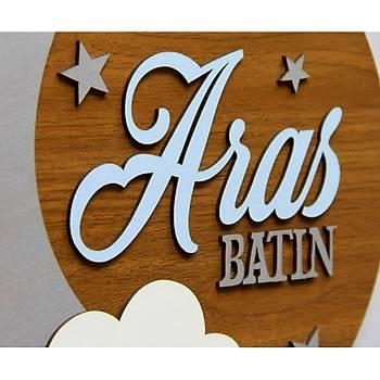 Ahþap Bebek Kapý ve Duvar Bebek Süsü - Bulut ve Ay- Model 1