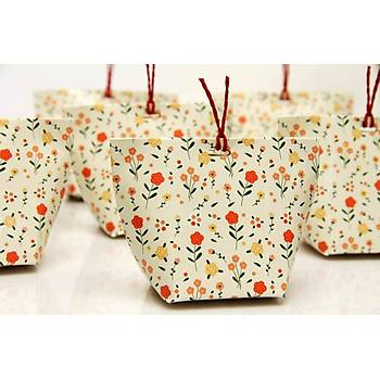 Çiçekli Çanta Þeker Kutusu - Beyaz