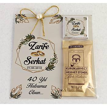 Ýnci Detaylý Kahve ve Çikolatalý Söz, Niþan, Kýna Hediyesi - Papatya, Kristal
