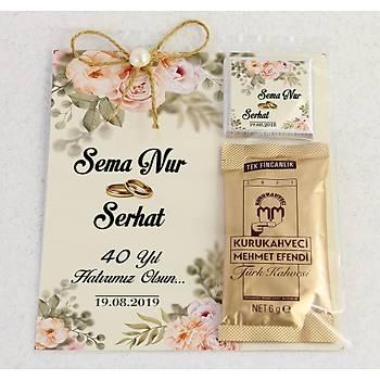 Ýnci Detaylý Kahve ve Çikolatalý Söz, Niþan, Kýna Hediyesi - Beyaz Gül
