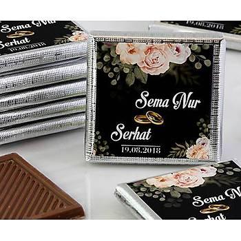 Söz-Niþan Çikolatasý - Kutulu - Güllü Siyah Tema