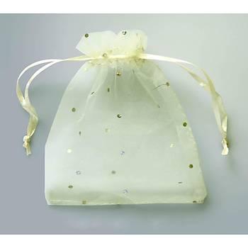 Organze Tül Kese, 7 x 9 cm, Beyaz