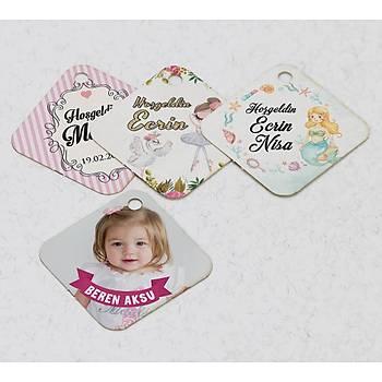 3 cm Baklava Karton Etiket - 70 adet - Kýz Bebek