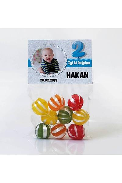 Meyveli Bebek Þekeri - Fotoðraflý Mavi Temalý Doðum Günü - Balon