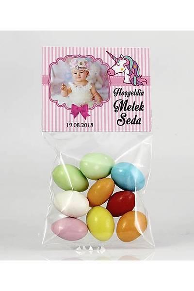 Renkli Çikolatalý Badem - Fotoðraflý Pembe Temalý - Unicorn
