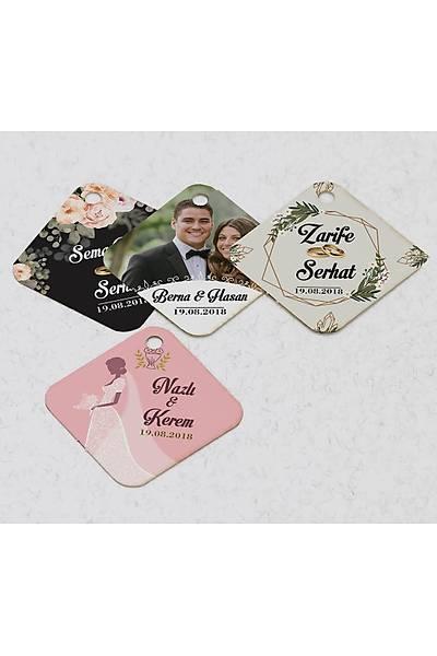 4 cm Baklava Karton Etiket - 40 adet - Evlilik
