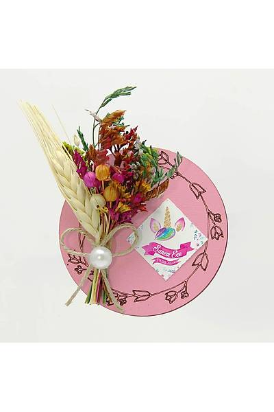 Çiçek Buketli Kanaviçe Bebek-Nikah Þekeri, Pembe Ahþap