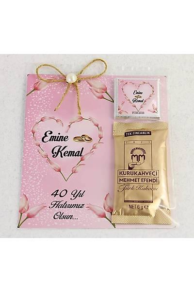 Ýnci Detaylý Kahve ve Çikolatalý Söz, Niþan, Kýna Hediyesi - Laleli Kalp