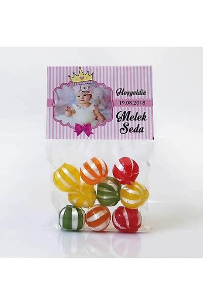 Meyveli Bebek Þekeri - Fotoðraflý Pembe Temalý Prenses