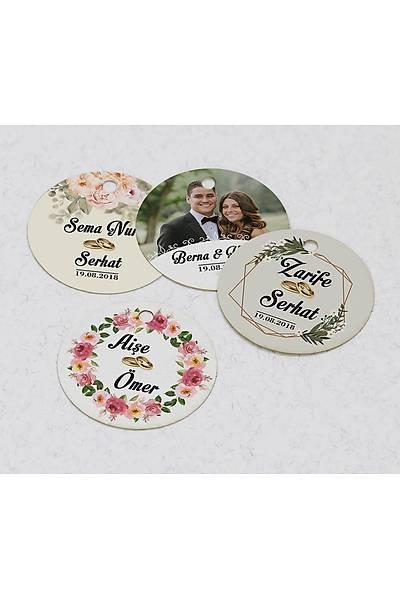 4 cm Yuvarlak Karton Etiket - 24 adet - Evlilik
