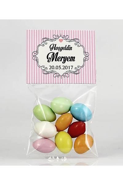 Renkli Çikolatalý Badem - Pembe Temalý - Çerçeveli