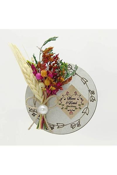 Çiçek Buketli Kanaviçe Bebek-Nikah Þekeri, Gümüþ Ahþap
