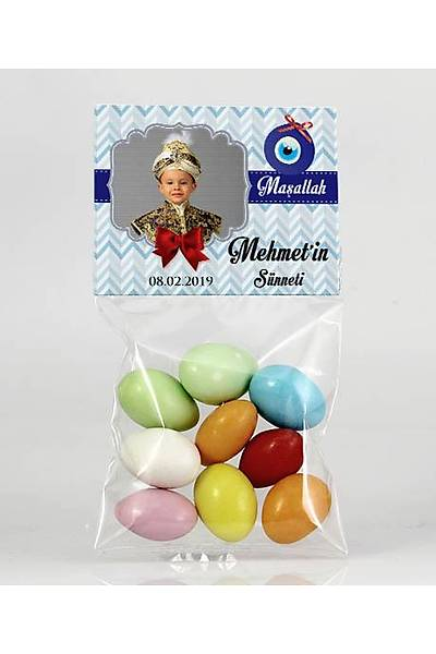Renkli Çikolatalý Badem - Fotoðraflý Mavi Temalý Bebek - Sünnet
