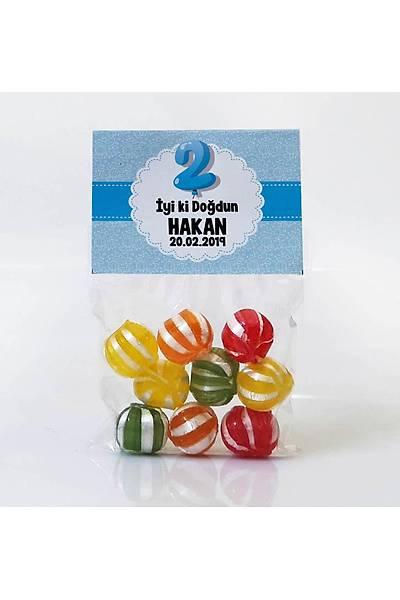 Meyveli Bebek Þekeri - Mavi Temalý Doðum Günü - Balon