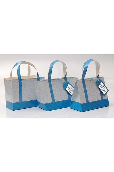 Mavi Vintage Tasarým Karton Çanta - Kiþiye Özel