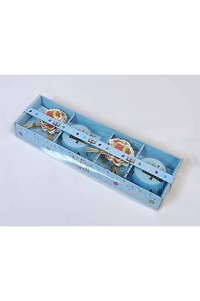 24 lü Cup Cake Seti - Mavi Pasta Temalý