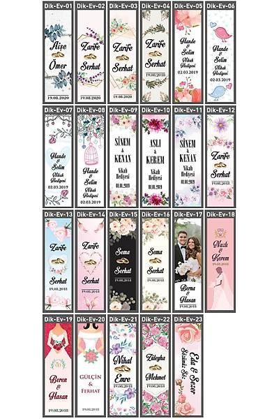 Dik Karton Etiket - 36 adet - Evlilik