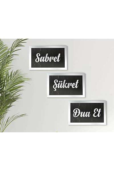 Sabret, Þükret, DuaEt 3'lü Tablo Seti - Gümüþ