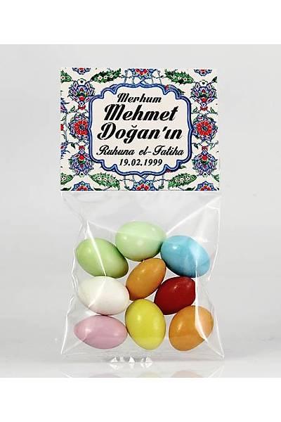 Renkli Çikolatalý Badem - Çini Desenli