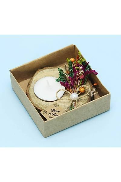 Kutulu Çiçek Buketi Detaylý Odun Mumluk - Nikah, Kýna, Bebek Þekeri