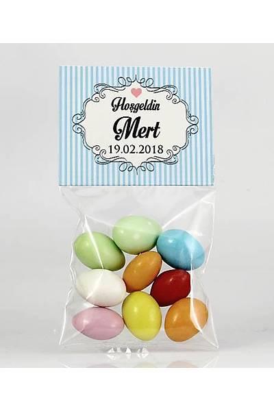Renkli Çikolatalý Badem - Mavi Temalý Bebek - Çerçeveli