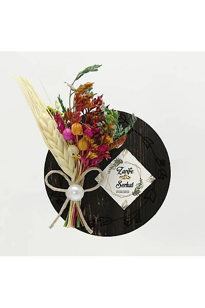 Çiçek Buketli Kanaviçe Nikah Þekeri, Siyah Ahþap