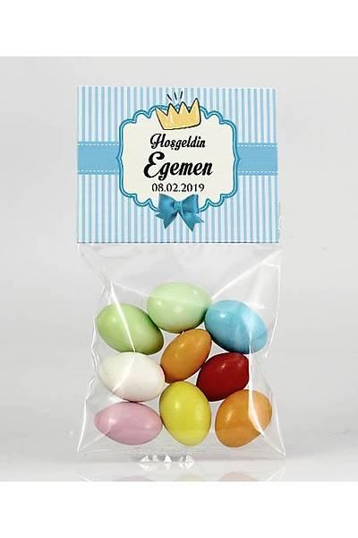Renkli Çikolatalý Badem - Mavi Temalý Bebek - Taç