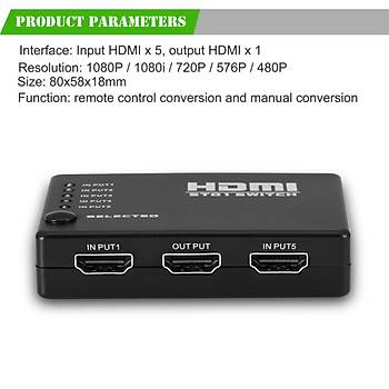 5 Port Kumandalý Full HD 1080p 3D HDMI Switch Çoklayýcý SY-501