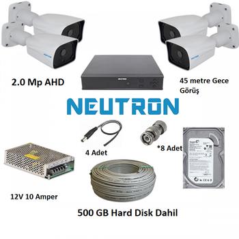 Neutron 4 Kameralý 2.0mp AHD  Paket Kamera Sistemi - N204