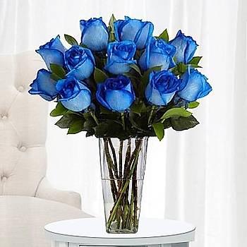 Cam Silindir Vazoda Mavi Güller