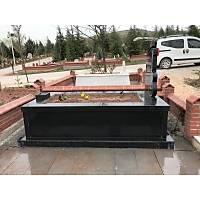 Kalın Kapaklı 40 cm Siyah Granit Mezar