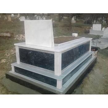 Siyah mermer mezar (Beyaz mermer kapaklý)