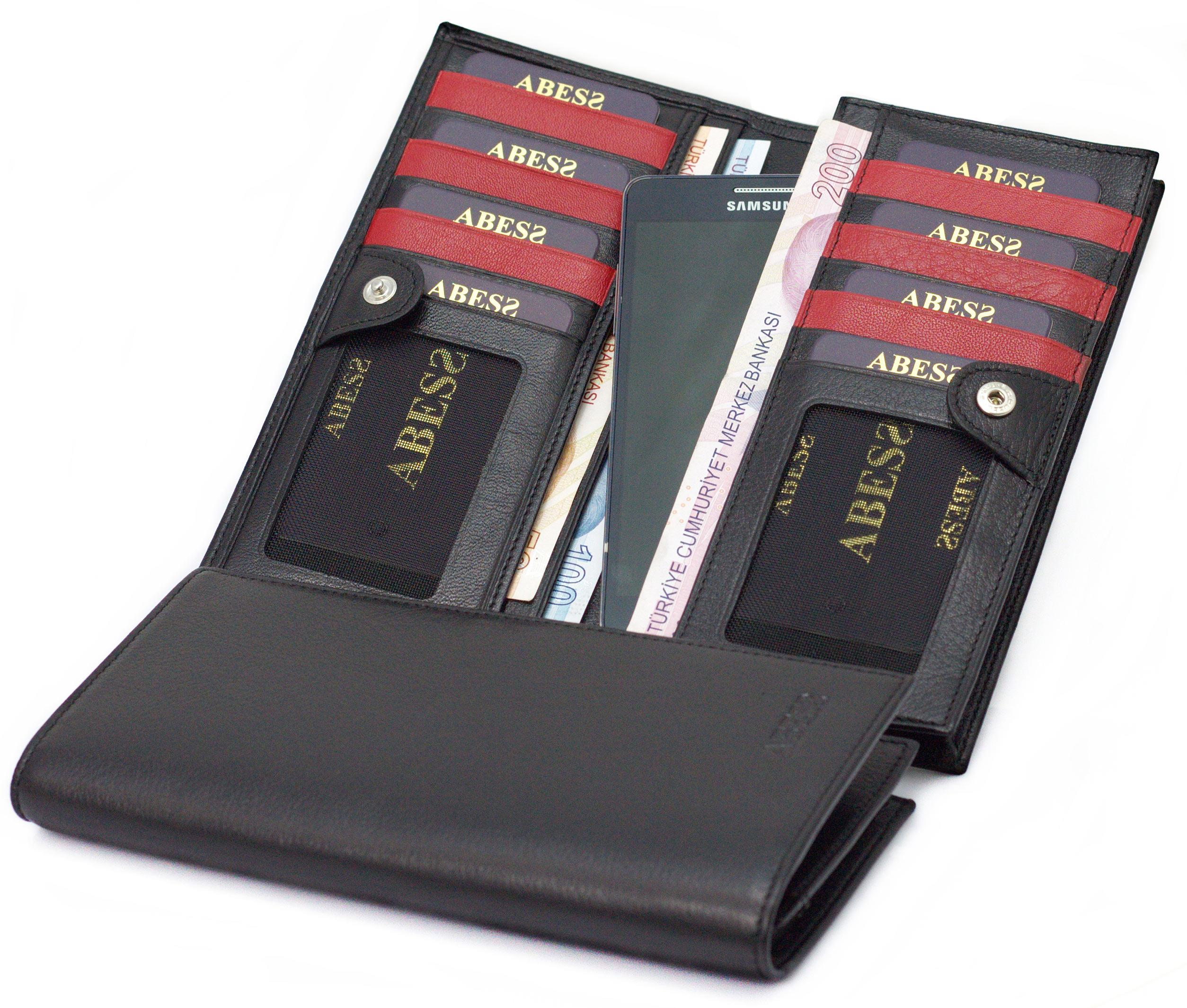 cd7f814840234 ABESS Cüzdan Kartlık , Telefon Bölmeli Lüks Gerçek Deri Cüzdan « ABESS