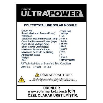 Ultrapower 100W Solar Panel