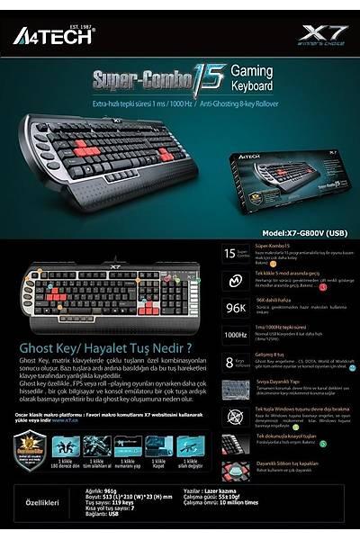 A4 TECH X7-G800V Q KLAVYE USB SÝYAH GAMER
