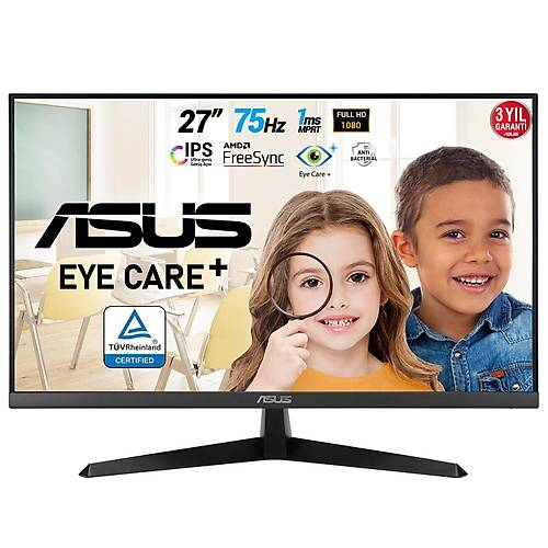 ASUS VY279HE 27 GAMING IPS FREESYNC 1920x1080 1MS(MPRT) 75HZ HDMI VGA VESA 3YIL EYECARE PLUS FLICKER-FREE CERCEVESIZ DUSUK MAVI ISIK