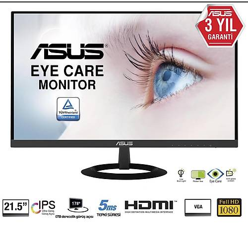 ASUS VZ229HE 21.5 IPS 1920x1080 5MS 75HZ HDMI VGA 3YIL EYECARE. FLICKER-FREE.CERCEVESIZ.DUSUK MAVI ISIK.Ultra SLIM
