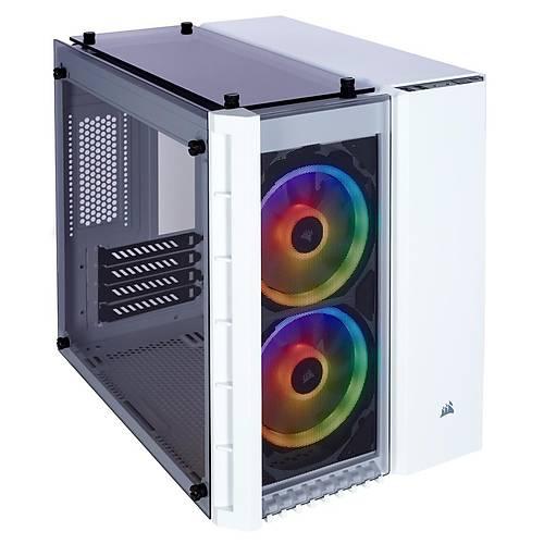 CORSAIR CC-9011137-WW CRYSTAL SERISI 280X RGB TEMPERLI CAM MICRO ATX KUP BILGISAYAR KASASI BEYAZ