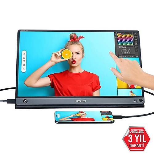 ASUS ZENSCREEN MB16AMT 15.6 TASINABILIR USB MONITOR IPS 1920x1080 5MS USB TYPE-C MICRO-HDMI MM 3YIL 10 PARMAK DOKUNMATIK. DAHILI BA