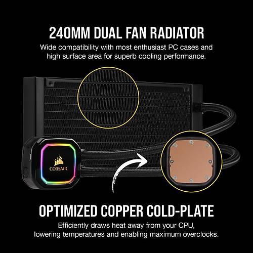 CORSAIR CW-9060043-WW ICUE H100I RGB PRO XT 240 MM SIVI ISLEMCI SOGUTUCU (INTEL 1200 1150 1151 1155 1156 1366 2011 2066 / AMD AM4 AM
