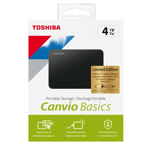 "4TB Canvio Basics 2.5"" USB3.2 GEN1 + Type-C Adaptör TOSHIBA HDTB440EK3CB"