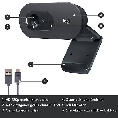 LOGITECH C505 WEBCAM HD - SÝYAH 960-001364