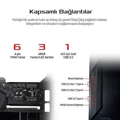 ASUS ROG Z11 ADRESLENEBÝLÝR RGB FANLI TEMPERLÝ CAM USB 3.2 MINI - ATX OYUNCU KASASI