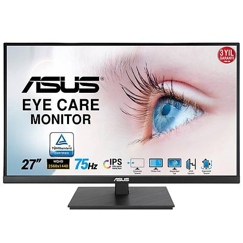 ASUS VA27AQSB 27 IPS FREESYNC 2560x1440 1MS(MPRT) 75HZ DP HDMI USB X2 MM VESA 3YIL EYECARE, FLICKER-FREE,CERCEVESIZ,DUSUK MAVI ISIK,PIVOT