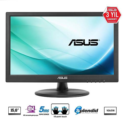 ASUS VT168N 15.6 LED 1366x768 10MS DVI VGA VESA 3YIL 10 PARMAK DOKUNMATIK. DVI to HDMI KABLO HEDIYE
