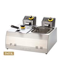 Silver 5+5 Litre Çift Hazne Elektrikli Fritöz KapaklıEndustriyel Tip Kullanım Fritöz