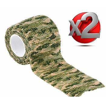 2 Adet Kamuflaj Bant 5cmx4,5Mt Su Geçirmez Elastik Bandaj-No:12