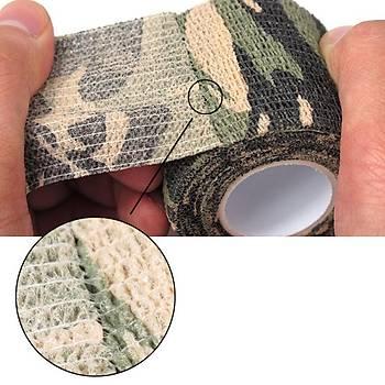 2 Adet Kamuflaj Bant 5cmx4,5Mt Su Geçirmez Elastik Bandaj-No:1