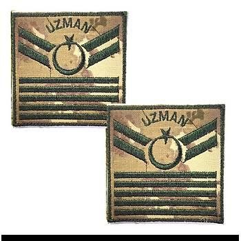 Uzman Çavuþ 5 Kademe Kamuflaj Rütbe 9cmx9cm (Kara Kuvvetleri)